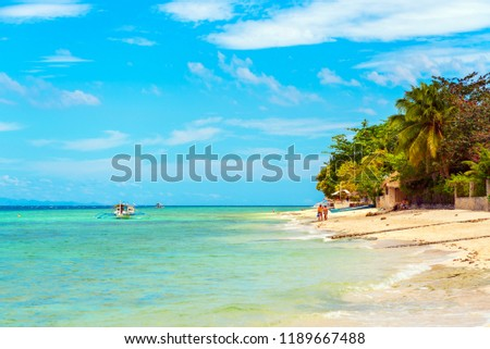 View of the sandy beach in Moalboal, Cebu, Philippines. Copy space for text                                 #1189667488