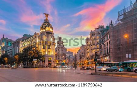 Madrid city skyline gran via street twilight , Spain #1189750642
