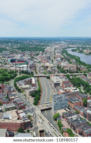 Boston city aerial view with urban buildings and highway. #118980157
