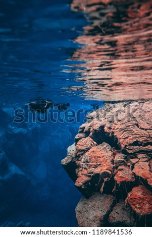 People Snorkeling swimming diving in  blue cold glacier water in famous crack fissure Silfra between two tectonic plates in national park Thingvellir in Iceland. Blue crystal clear water deep colors #1189841536
