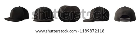 Set of front, side, top and back views of snapback baseball cap isolated on white background #1189872118
