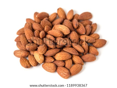 Raw Natural Organic Almonds Nuts Scattered Isolated on White Background Top View Healthy Food for Life Natural Light Selective Focus  #1189938367