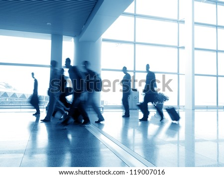 passenger in the shanghai pudong airport.interior of the airport. #119007016