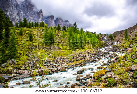 Mountain river valley landscape. River stream flow in foggy mountains. Mountain river stream valley scene. Mountain river stream fog #1190106712
