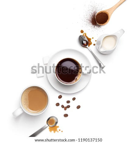 Top view of different types of coffee and ingredients arranged nicely #1190137150