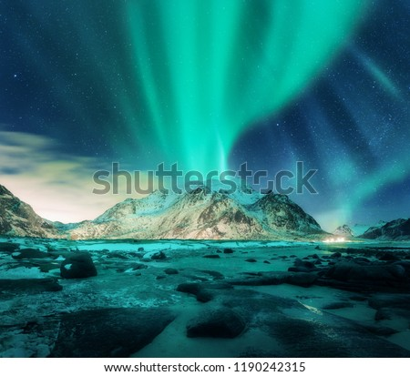 Aurora over snowy mountains, sandy beach with stones. Northern lights in Lofoten islands, Norway. Starry sky with polar lights. Night winter landscape with green aurora borealis, rocks, illumination #1190242315