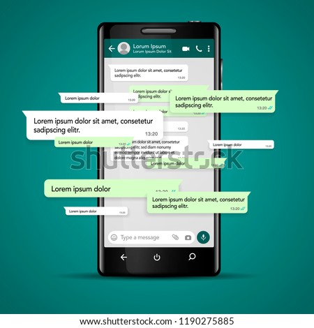 Modern vector mobile phone illustration with chat screen app, messaging template. Social network, chatting and messaging concept #1190275885