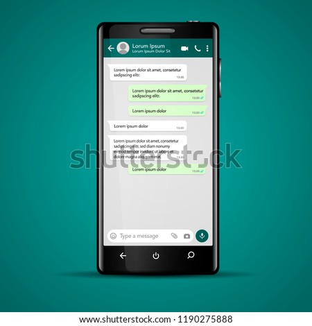 Modern vector mobile phone illustration with chat screen app, messaging template. Social network, chatting and messaging concept #1190275888