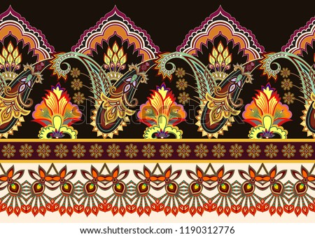 seamless bright border with paisley,curls, tooth edge, decorative stripes on a dark background #1190312776
