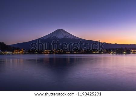The sunset on Mt Fuji and Lake Kawaguchiko. A UNESCO world heritage site in Japan - Yamanashi Prefecture. #1190425291