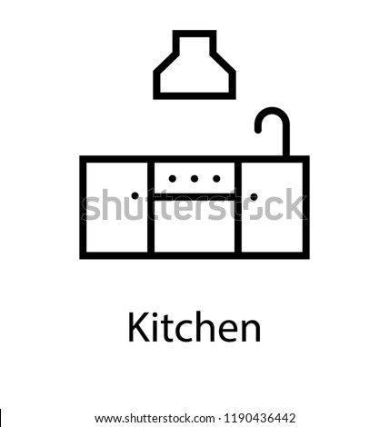 Sink with cabinets showing kitchen fittings to cook food   Royalty-Free Stock Photo #1190436442
