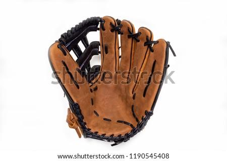 Baseball glove on white background opened up. Royalty-Free Stock Photo #1190545408