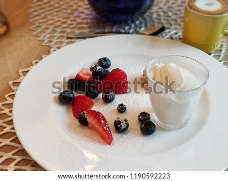 strawberry, blueberry and ice cream #1190592223