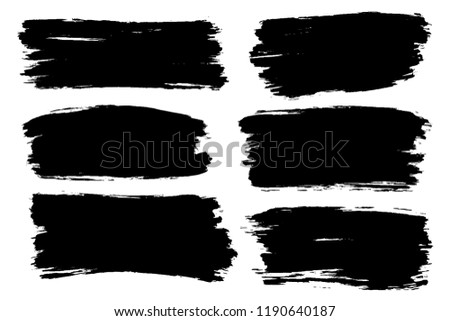 Vector set of hand drawn brush strokes, stains for backdrops. Monochrome design elements set. One color monochrome artistic hand drawn backgrounds. #1190640187