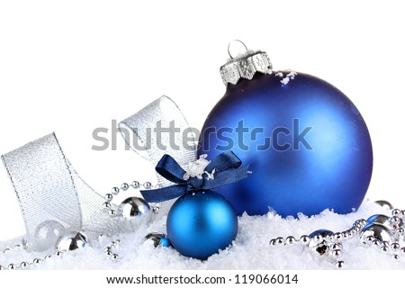 beautiful blue Christmas balls on snow, isolated on white #119066014