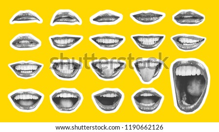 Collage in magazine style with emotional woman's lip gestures set. Girl mouth close up with lipstick makeup expressing different emotions. Black and white toned sunny summer colorful yellow background #1190662126