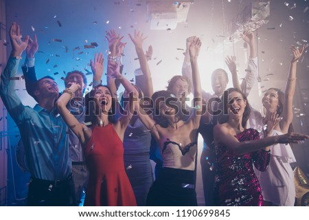 Leisure, lifestyle, careless, carefree concept. Photo of ecstatic, positivity, happiness, emotion, excited, rejoice ladies and gentleman rest, relax, chill in nightlife party #1190699845