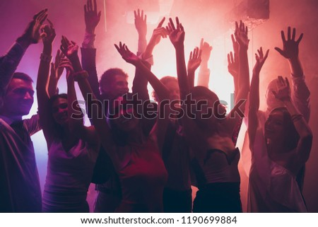 Pop rock and roll listen band motion concept. Best party mood! Beautiful, attractive, pretty, dreamy, charming  friends, persons dancing in darkness of city club raised hands up #1190699884