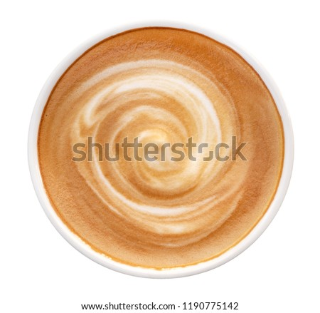 Top view of hot coffee latte cappuccino spiral foam isolated on white background, clipping path included #1190775142