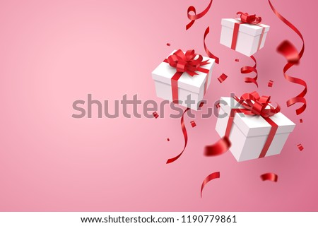 Falling gift box, Valentine's day celebrate, vector art and illustration Royalty-Free Stock Photo #1190779861