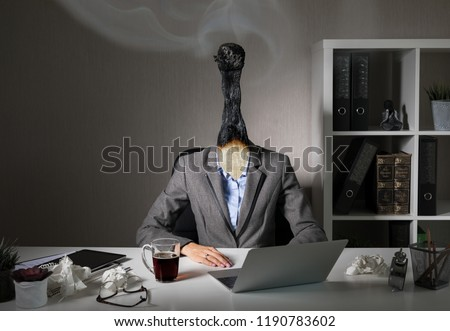 Conceptual photo illustrating burnout syndrome at work #1190783602