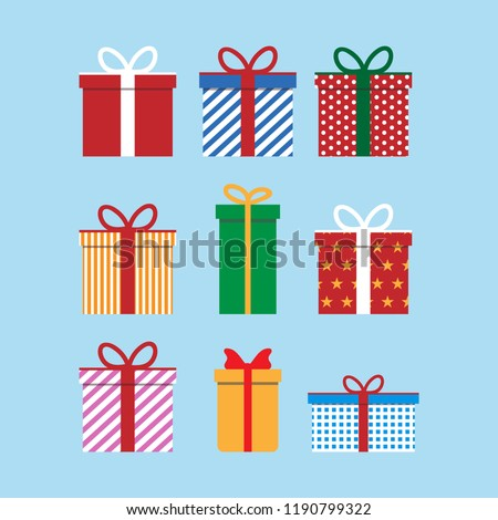 Set of colorful icons of gift boxes. Flat design for Christmas present, love valentine present on blue background. Vector illustration. #1190799322