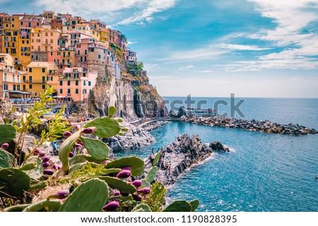Manarola Village, Cinque Terre Coast Italy. Manarola is a beautiful small colorful town province of La Spezia, Liguria, north of Italy and one of the five Cinque terre national park #1190828395