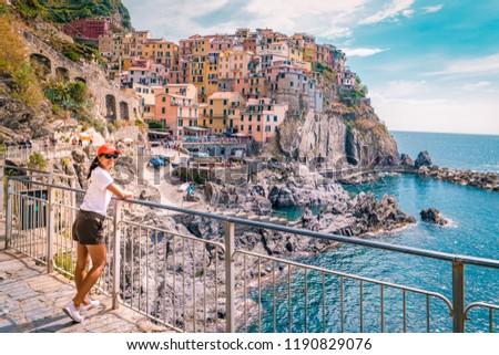 Manarola Village, Cinque Terre Coast Italy. Manarola is a beautiful small colorful town province of La Spezia, Liguria, north of Italy and one of the five Cinque terre national park #1190829076