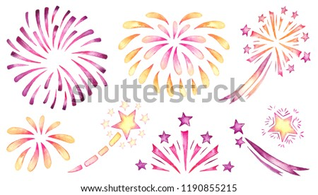 watercolor firework set isolated on white background