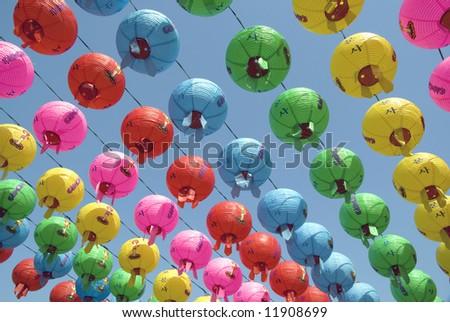 Colorful Hanging Lanterns to Celebrate Buddha's Birthday
