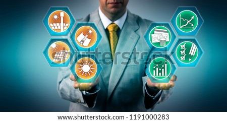 Investor is evaluating the return on investment of solar power sectors. Industry and business concept for sustainable development, solar energy, CSP, environmental conservation, efficiency, ROI. #1191000283
