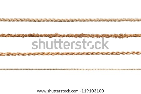 collection of various ropes on white background. each one is shot separately Royalty-Free Stock Photo #119103100