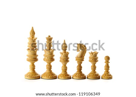 white chess pieces isolated on a white background #119106349