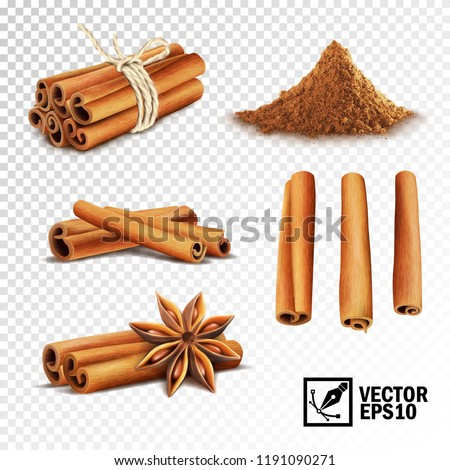 3d realistic vector set of cinnamon ( cinnamon sticks tied with a rope, anise stars and a pile of cinnamon) Royalty-Free Stock Photo #1191090271