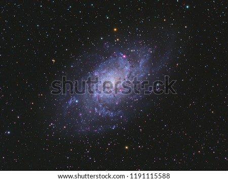 Triangulum Galaxy M33 in Triangulum constellation with Nebula,Open Cluster,Globular Cluster, stars and space dust in the universe and Milky way taken by dedicated astrophotography camera on telescope. #1191115588