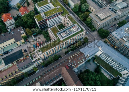 Munich city center Air drone view summer urban photo #1191170911