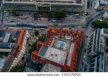 Munich city center Air drone view summer urban photo #1191170920