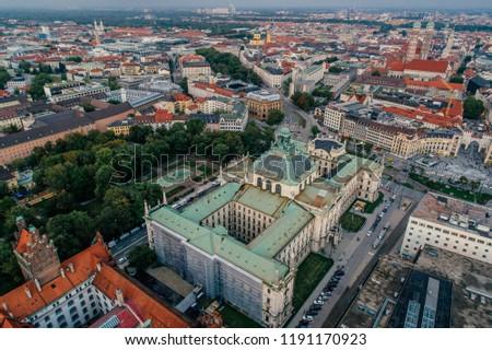 Munich city center Air drone view summer urban photo #1191170923