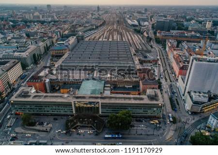 Munich city center Air drone view summer urban photo #1191170929