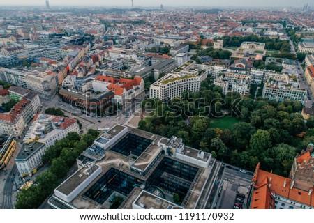 Munich city center Air drone view summer urban photo #1191170932
