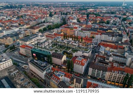 Munich city center Air drone view summer urban photo #1191170935