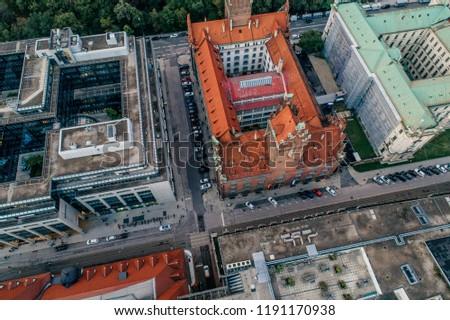 Munich city center Air drone view summer urban photo #1191170938