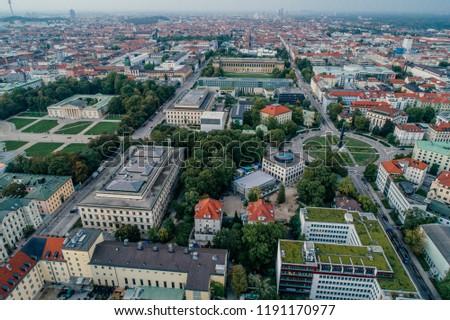 Munich city center Air drone view summer urban photo #1191170977
