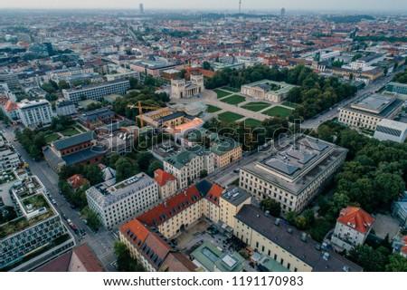 Munich city center Air drone view summer urban photo #1191170983