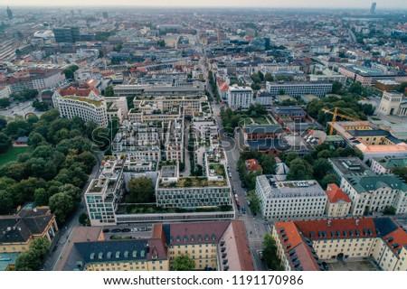 Munich city center Air drone view summer urban photo #1191170986