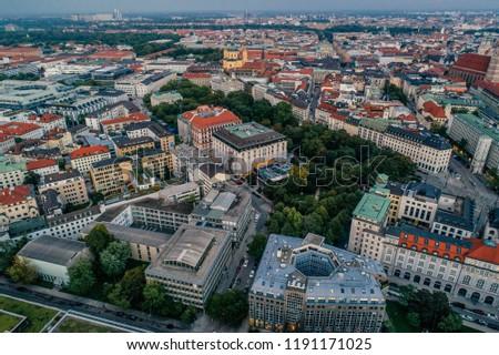 Munich city center Air drone view summer urban photo #1191171025