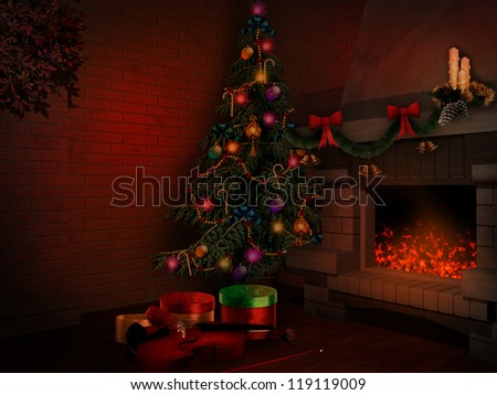 Christmas tree and fireplace #119119009