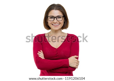Smiling middle aged woman with folded arms on white background, isolated. #1191206104