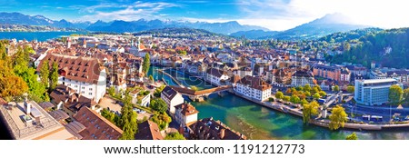 City of Luzern panoramic aerial view, Alps and lakes in Switzerland #1191212773