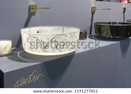 BOLOGNA, ITALY - SEP 26, 2018: Products displayed during Cersaie 2018, international Exhibition of Ceramic Tile and Bathroom Furnishings #1191277852